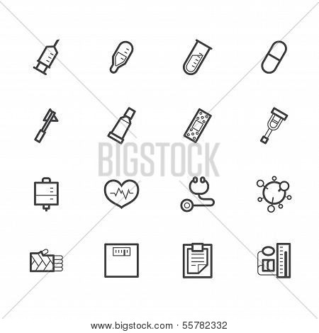 hospital black icon set on white background