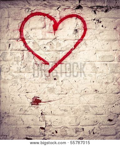 Red Love Heart Hand Drawn On Brick Wall Grunge Textured Background Trendy Street Style