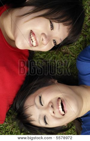 Two happy girls portrait