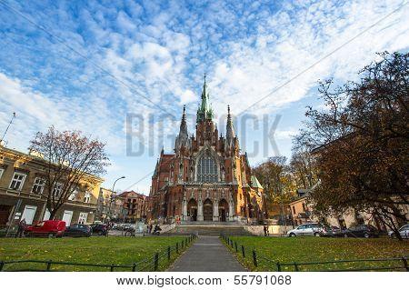 KRAKOW, POLAND - OCT 19: Church Joseph - a historic Roman Catholic church in south-central part of Krakow, Oct 19, 2013 in Krakow, Poland. Was built 1905-1909 y and designed by Jana Sas-Zubrzyckiego.