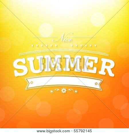 Summer Poster With Bokeh, With Gradient Mesh, Vector Illustration