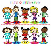 pic of diversity  - Find 6 difference game or visual puzzle - JPG