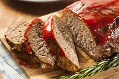 picture of meatloaf  - Homemade Ground Beef Meatloaf with Ketchup and Spices