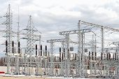 stock photo of voltage  - High voltage electric power substation in autumn day - JPG