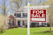 image of borrower  - Home For Sale Real Estate Sign in Front of Beautiful New House - JPG