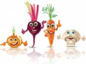 Funny Vegetables_onion, Beet, Carrot, Mushroom