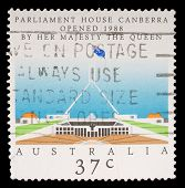 AUSTRALIA - CIRCA 1988: stamp printed by Australia, shows Opening of Parliament House, Canberra, cir