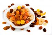 picture of dry fruit  - Bowl of dried fruit isolated on white background - JPG