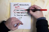 stock photo of  habits  - Smoking man Last Years New Year Resolution list failed - JPG