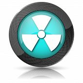 pic of radium  - Shiny glossy icon with white design on aqua background - JPG