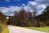image of trestle bridge  - A steel railroad bridge in the hills of West Virginia - JPG