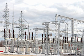 foto of substation  - High voltage electric power substation in autumn day - JPG