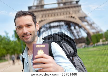 Young attractive man in Paris
