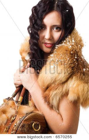 Woman With Curly Hair Stand With Leather Bag