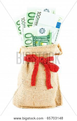 the euros in a linen sack, bandaged by a gift red ribbon