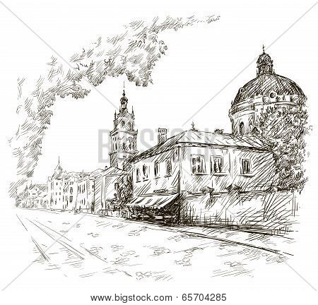 Sketch of a street. Old city. City centre.  Europe.