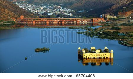 Rajasthan landmark - Jal Mahal (Water Palace) on Man Sagar Lake,Jaipur, Rajasthan, India
