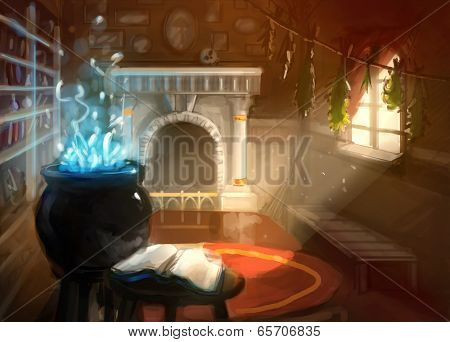 Digital Painting Wizard House Interior