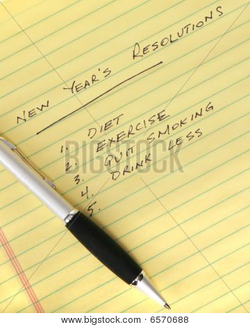 New Years Resolutionen Liste