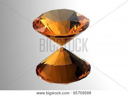 Luxury 3D diamonds render. Jewelry gemstone.  Citrine.
