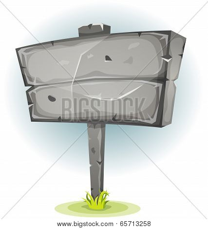 Cartoon Stone Advertising Sign