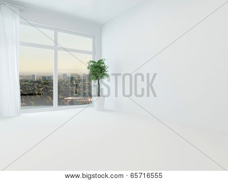 Unfurnished white apartment living room or bedroom with a view window overlooking a distant town and floor length white drapes, fresh, light, bright and airy