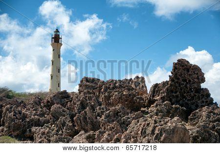 Picture of California Lighthouse Landmark on Aruba Caribbean