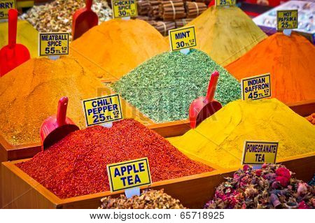 Pack Of Variety Spices On Istanbul Market, Turkey
