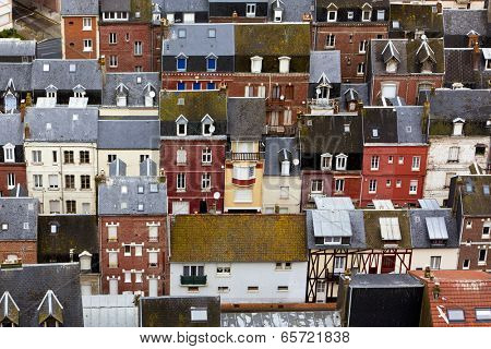 View upon the roofs of the city of Le Treport, Normandy, France