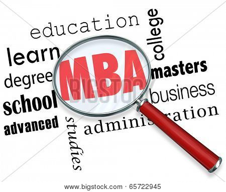 MBA letters magnifying glass masters of business administration degree college university