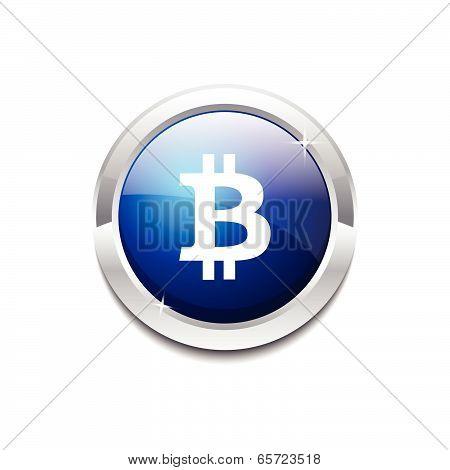 Bit Coin Circular Blue Vector Web Button