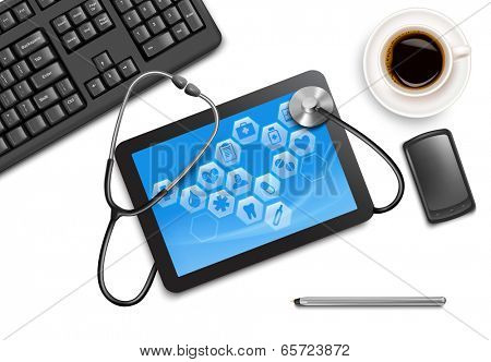 tablet screen with medical icons and stethoscope on the table at the doctor. Vector.