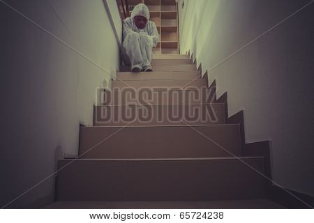 Depression, nightmare man with red mask in empty room