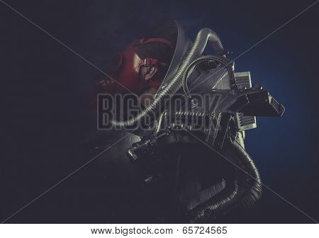 Scifi, man with robotic armor, Starfighter