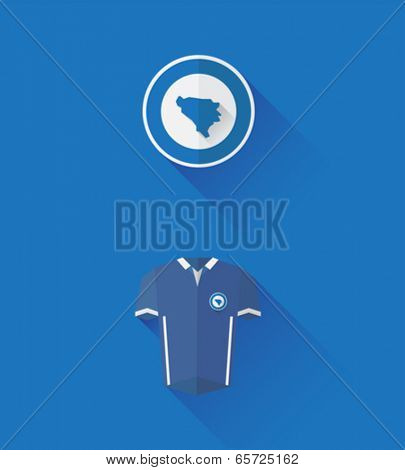 Digitally generated bosnia jersey and crest vector