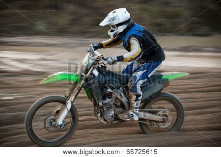 Motocross bike in a race, close-up.