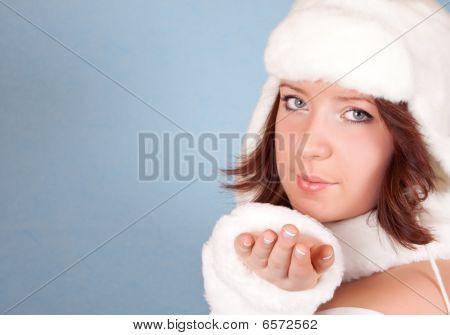 White Xmas Girl Sending A Kiss