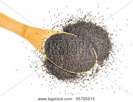 A heaped spoonful of organic poppy seeds on a white background