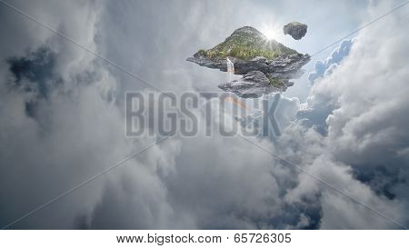 Island with waterfalls and rainbows floating above clouds in a dreamy sky