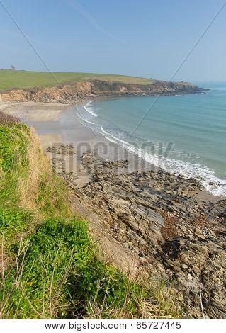 Roseland peninsula coast Porthcurnick beach Cornwall England UK north of Portscatho
