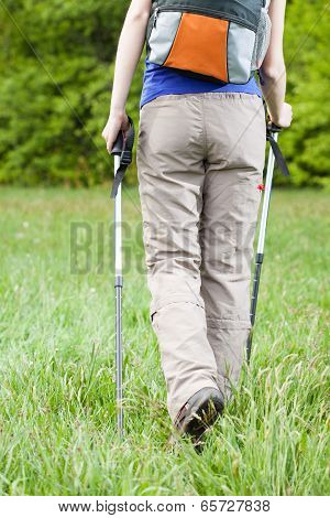 Female Legs And Nordic Walking Poles