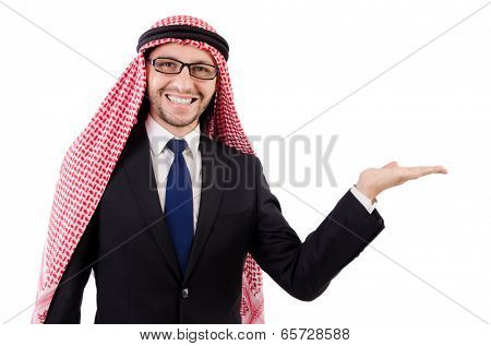 Arab man in specs holding hands  isolated on white
