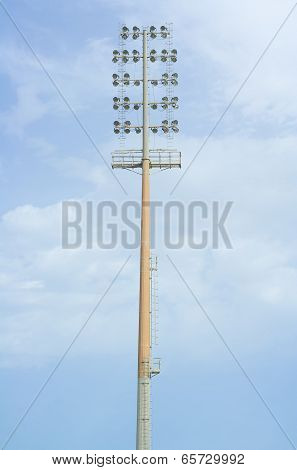 High electric floodlight pole in stadium