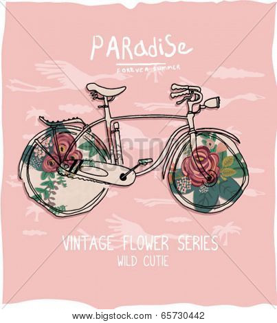 illustration bike with flower 3
