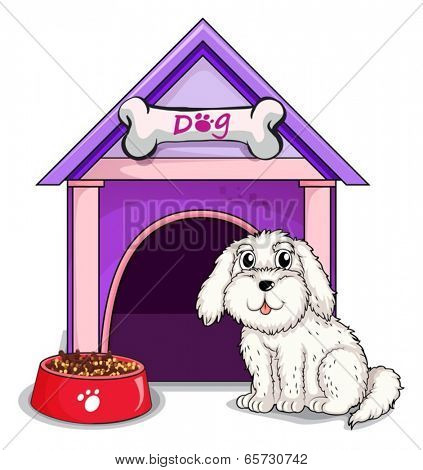 Illustration of a dog outsite the purple house on a white background
