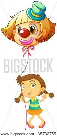 Illustration of a young girl holding a clown balloon on a white background