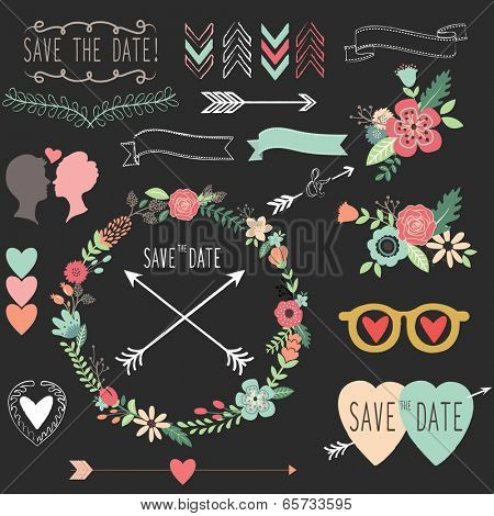 Chalkboard Vintage Wedding elements- Illustration
