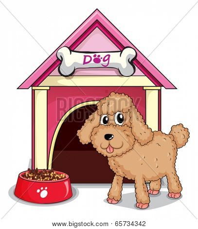 Illustration of a puppy outside the doghouse on a white background