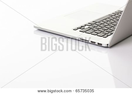 Modern laptop computer on white