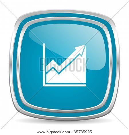 histogram blue glossy icon